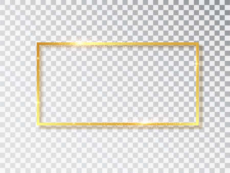 Gold shiny glowing vintage frame with shadows isolated on transparent background. Golden luxury realistic rectangle border. Vector illustration. Ilustração