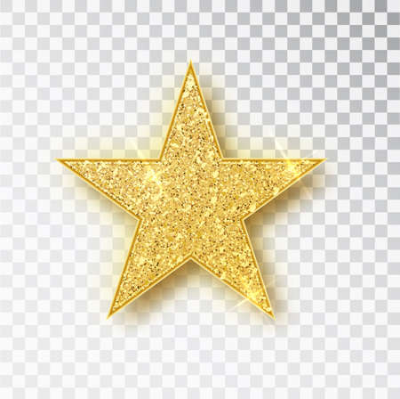 Gold glitter star vector isolated. Golden sparkle luxury design element isolated. Icon of star isolated. New Year s decor element. Ramadan design element Template Stok Fotoğraf - 128800826