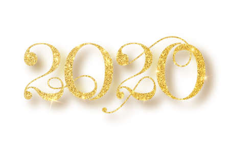 2020 glitter typography design. Gold sparkling Numbers Design of greeting card of Happy new year design. Gold Shining Pattern. Happy New Year Banner with 2020 Numbers. Vector illustration Stok Fotoğraf - 128800833