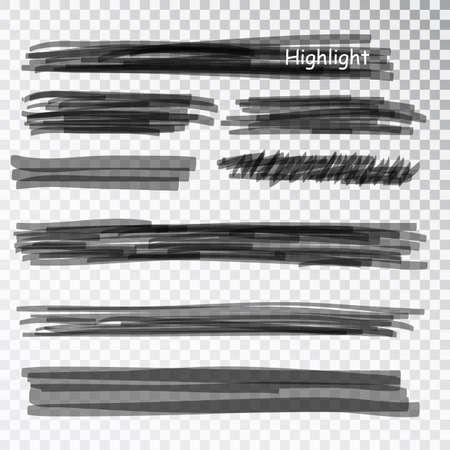 Black highlight marker stripes isolated on white background