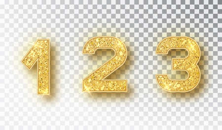 1,2,3 glitter typography design. Gold sparkling Numbers Design of greeting card of Happy new year design. Gold Shining Pattern. Vector illustration .