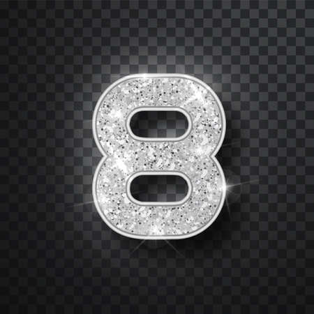 Silver glitter alphabet numbers 8 with shadow. Vector realistick shining silver font number eight of sparkles on black background. For decoration of cute wedding, anniversary, party, label, headline, poster, sticker Illusztráció