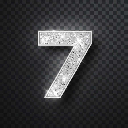 Silver glitter alphabet numbers 7 with shadow. Vector realistick shining silver font number sewen of sparkles on black background. For decoration of cute wedding, anniversary, party, label, headline, poster, sticker Stok Fotoğraf - 128800831