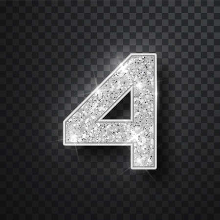 Silver glitter alphabet numbers 4 with shadow. Vector realistick shining silver font number four of sparkles on black background. For decoration of cute wedding, anniversary, party, label, headline, poster, sticker Imagens - 128800834