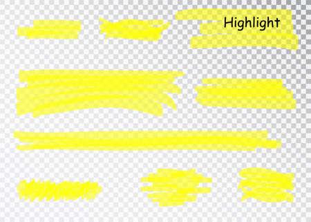 Yellow Highlighter Marker Strokes. Vector brush pen underline lines. Yellow watercolor hand drawn highlight set.