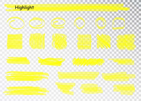 Yellow Highlighter Marker Strokes. Vector brush pen underline lines. Yellow watercolor hand drawn highlight set. Stok Fotoğraf - 128800937