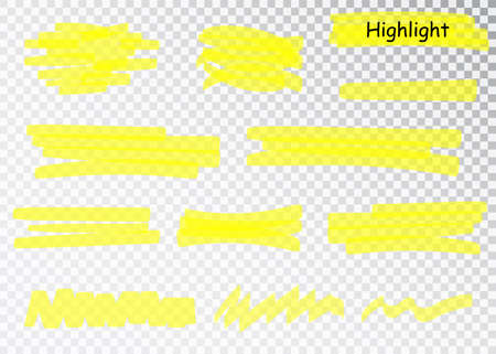 Yellow Highlighter Marker Strokes. Vector brush pen underline lines. Yellow watercolor hand drawn highlight set. Imagens - 128800939