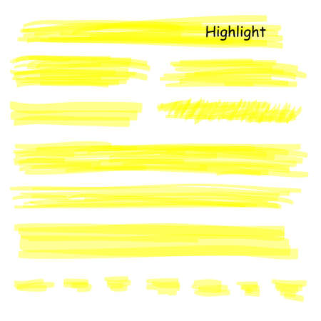 Hand drawn highlight marker lines set. Highlighter yellow strokes vector isolated on white background. Highlighter drawing design illustration.