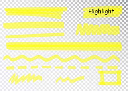 Yellow Highlighter Marker Strokes. Vector brush pen underline lines. Yellow watercolor hand drawn highlight set. Imagens - 128800931