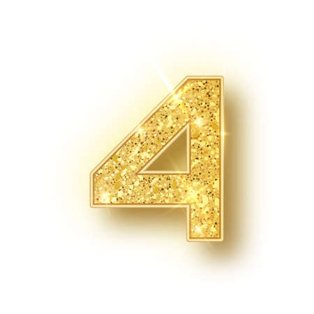 Gold glitter alphabet numbers 4 with shadow. Vector realistick shining golden font number four of sparkles on white background. For decoration of cute wedding, anniversary, party, label, headline, poster, sticker Stok Fotoğraf - 128800927