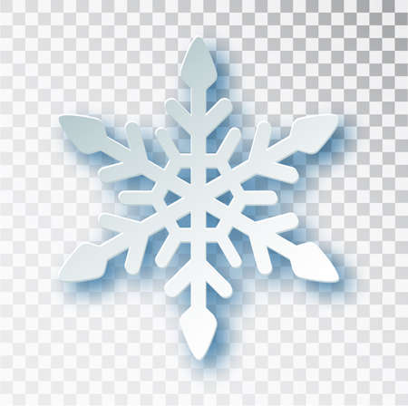 Paper cut snowflake with shadow isolated on transparent background. Christmas and New Year s design template, mockup. Stocking Christmas decorations. Imagens - 128800946