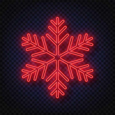 Neon snowflake isolated on transparent background. Christmas and New Years design template, mockup. Stocking Christmas decorations. Stok Fotoğraf - 128800957