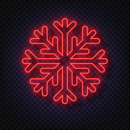 Neon snowflake isolated on transparent background. Christmas and New Years design template, mockup. Stocking Christmas decorations.