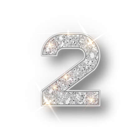 Silver glitter alphabet numbers 2 with shadow. Vector realistick shining silver font number two of sparkles on white background. For decoration of cute wedding, anniversary, party, label, headline, poster, sticker.