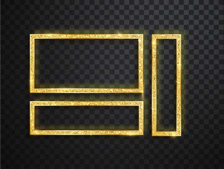 Golden shiny frame set isolated on transparent background, gold fashion glowing square borders
