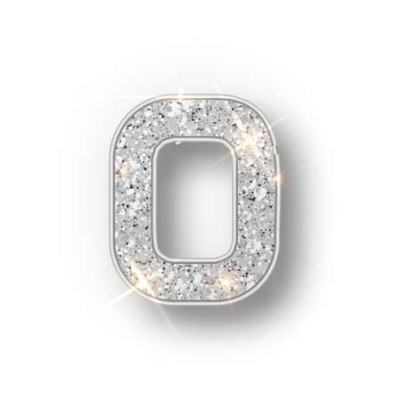 Silver glitter alphabet numbers 0 with shadow. Vector realistick shining silver font number zero of sparkles on white background. For decoration of cute wedding, anniversary, party, label, headline, poster, sticker.