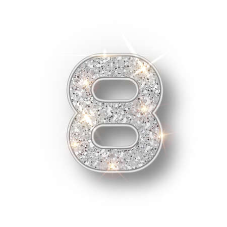 Silver glitter alphabet numbers 8 with shadow. Vector realistick shining silver font number eight of sparkles on white background. For decoration of cute wedding, anniversary, party, label, headline,