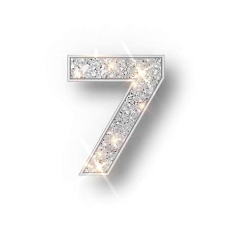 Silver glitter alphabet numbers 7 with shadow. Vector realistick shining silver font number sewen of sparkles on white background. For decoration of cute wedding, anniversary, party, label, headline, poster, sticker.