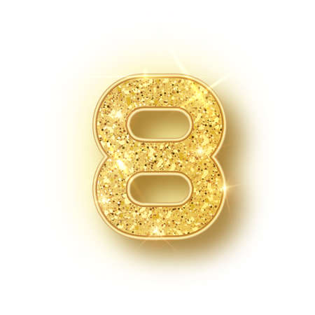 Gold glitter alphabet numbers 8 with shadow. Vector realistick shining golden font number eight of sparkles on white background. For decoration of cute wedding, anniversary, party, label, headline, po