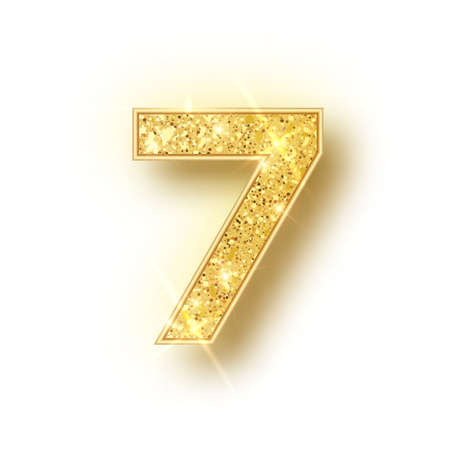Gold glitter alphabet numbers 7 with shadow. Vector realistick shining golden font number sewen of sparkles on white background. For decoration of cute wedding, anniversary, party, label, headline, poster, sticker