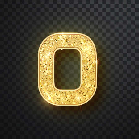 Gold glitter numbers zero with shadow. Vector realistick shining golden font figure 0 lettering of sparkles on black background. For decoration of cute wedding, anniversary, party, label, headline, poster, sticker Imagens - 128801266