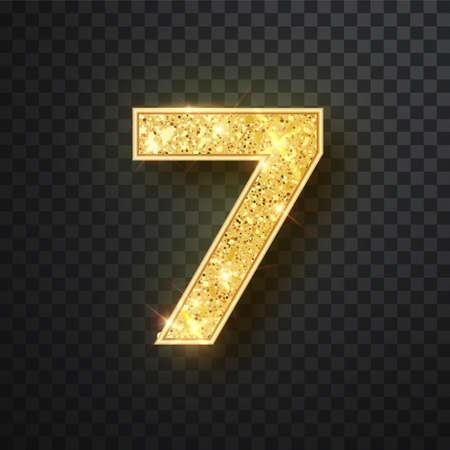 Goldglitter Nummern sieben mit Schatten. Vector realistische glänzende goldene Schriftfigur 7 Schriftzug von Funkeln auf schwarzem Hintergrund. Zur Dekoration von süßen Hochzeiten, Jubiläen, Partys, Etiketten, Überschriften, Postern, Aufklebern Vektorgrafik