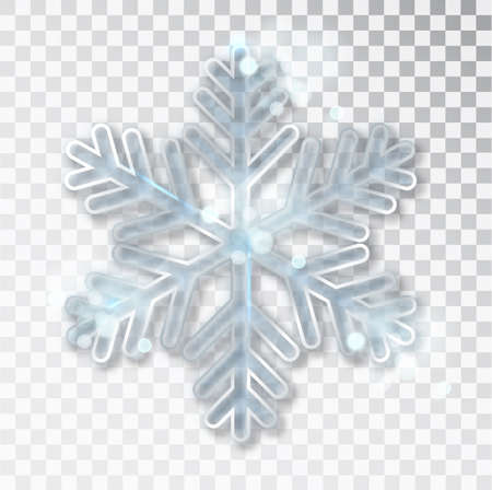 Snowflake transparent with shadow isolated on background. Christmas and New Year s design template, mockup. Stocking Christmas decorations. Imagens - 128801260