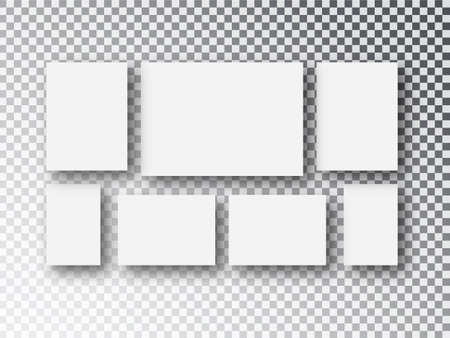 Collage templates frames parts, picture or illustration. Board and branding Presentation. Poster frame mockup. Collage concept. Vector set, with space for text or ad. Vector illustration picture frame