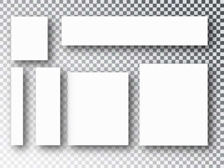 Blank picture frames templates parts, picture or illustration. Board and branding Presentation. Poster frame mockup. Collage templates. Vector illustration