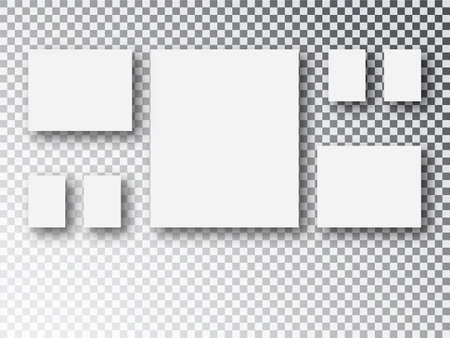 Frames Collage templates parts, picture or illustration. Board and branding Presentation. Blank white 3d paper canvas or photo frames isolated on transparent background.