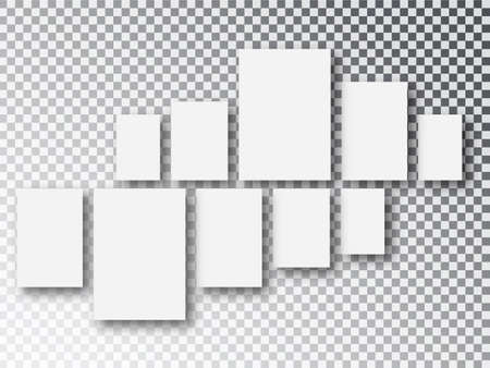 Blank white 3d paper canvas or photo frames isolated on transparent background. Collage concept. Collage templates parts, picture or illustration Ilustração