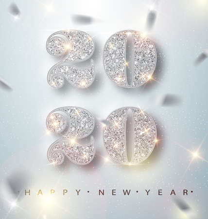 Happy New Year 2020 Greeting Card with Silver Numbers and Confetti Frame on White Background. Vector Illustration. Merry Christmas Flyer or Poster Design. Vector 10 EPS.  イラスト・ベクター素材