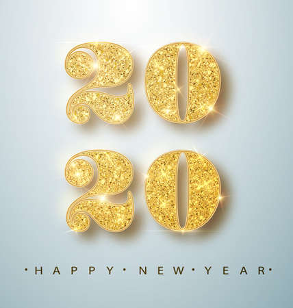 Happy New 2020 Year. Holiday vector illustration of golden metallic numbers 2020. Realistic sign. Festive poster or banner design Ilustração