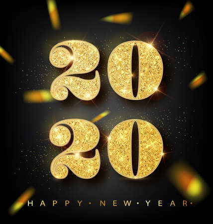 Golden Vector luxury text 2020 Happy new year. Gold Festive Numbers Design, diamonds texture. Gold shining glitter confetti. Happy New Year Banner with 2020 Numbers for greeting card, calendar 2020. Ilustração