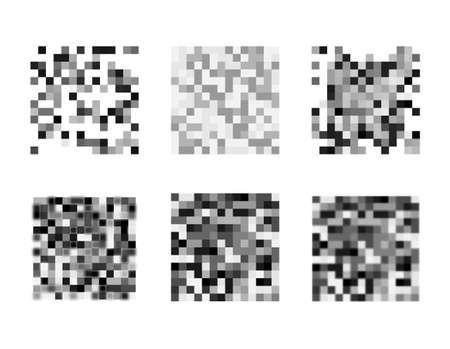 Censored pixel sign set. Black censor bar concept. Censorship rectangle. Vector illustration.