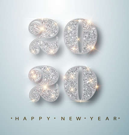 Happy New Year Banner with Silver 2020 Numbers on Bright Background with Flying Confetti and Streamers. Vector illustration.