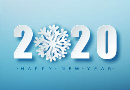 2020 Blue Christmas typography design. Winter season background with falling snow. Christmas and New Year poster template.Holiday greetings. Vector illustration EPS10