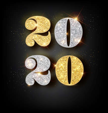 Happy New Year 2020 Greeting Card with Gold and Silver Numbers on Black Background with Glossy Reflection. Vector Illustration. Merry Christmas Design.