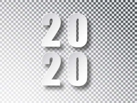 2020 Happy new year creative design background template for greeting card. 2020 new year numbers isolated on transparent background.