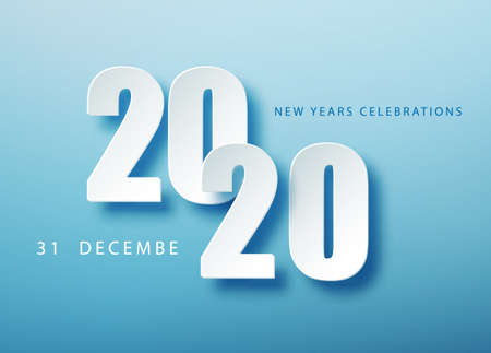 2020 Happy New Year creative design background or greeting card. 2020 new year numbers on blue. Christmas and New Year poster template.Holiday greetings.