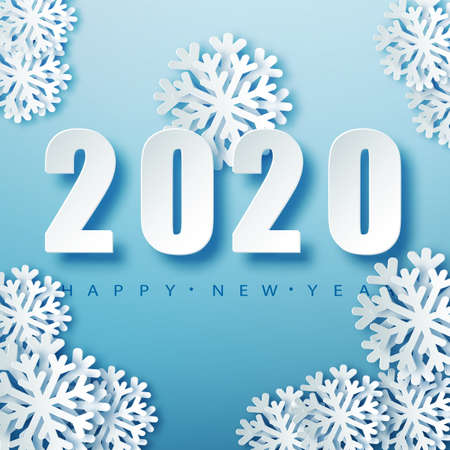 2020 Blue Christmas typography design. Winter season background with falling snow. Christmas and New Year poster template.Holiday greetings. Vector illustration EPS10 Stock fotó - 131592642