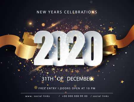 Happy new 2020 year. Winter holiday greeting card design template. Christmas and New Year posters. Happy New Year dark festive background