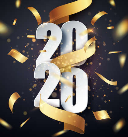 2020 Happy New Year vector background with golden gift ribbon, confetti, white numbers. Christmas celebrate design. Festive premium concept template for holiday