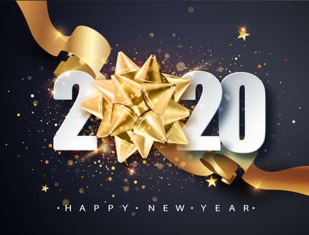 2020 Happy new year. Happy New Year 2020 - New Year Shining background with golden gift bow and glitter. Happy New Year Banner for greeting card, calendar