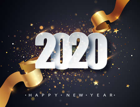 2020 Happy New Year vector background with golden gift ribbon, confetti, white numbers. Christmas celebrate design. Festive premium concept template for holiday Imagens - 131592110