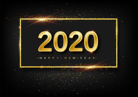 Happy New Year of glitter gold fireworks. Vector golden glittering text and 2020 numbers with sparkle shine for holiday greeting card. Ilustração