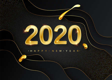 Happy New 2020 Year. Vector holiday illustration. Golden numbers on black background textured with shimmering glitters. Halftone glowing pattern. Christmas holiday greeting card on black background