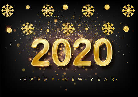 2020 New year background. Holiday label with fallen golden glitter confetti over black backdrop. Calendar design template. Greeting card web banner Illusztráció