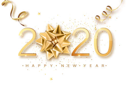 Happy New 2020 Year. Greeting card web banner or poster with happy new year 2020 with christmas bow gold glitter confetti and shine. Luxury Vector illustration.