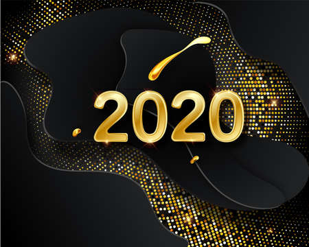Happy New 2020 Year. Vector holiday illustration. Golden numbers on black background textured with shimmering glitters. Halftone glowing pattern. Christmas holiday greeting card on black background.